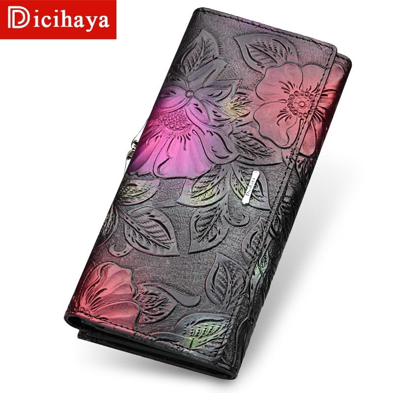 DICIHAYA Genuine Leather Women Wallets Luxury Brand Wallet Design High Quality Fashion Women Purse Card Holder Long Clutch Bag