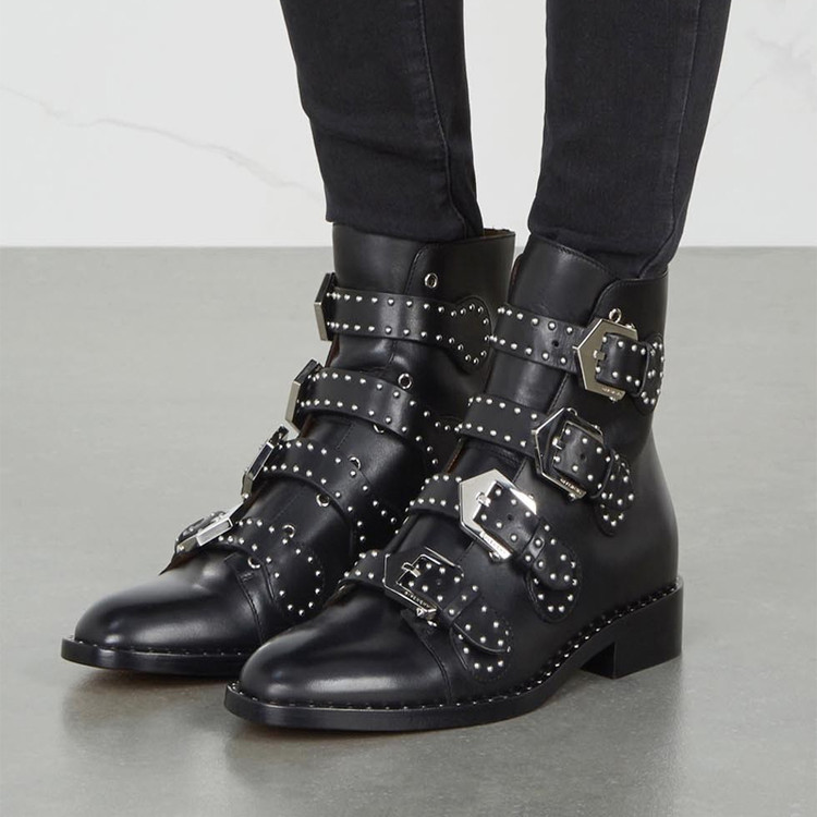 New personality woman tide shoes Martin boots round head belt buckle scooter low heel boots big