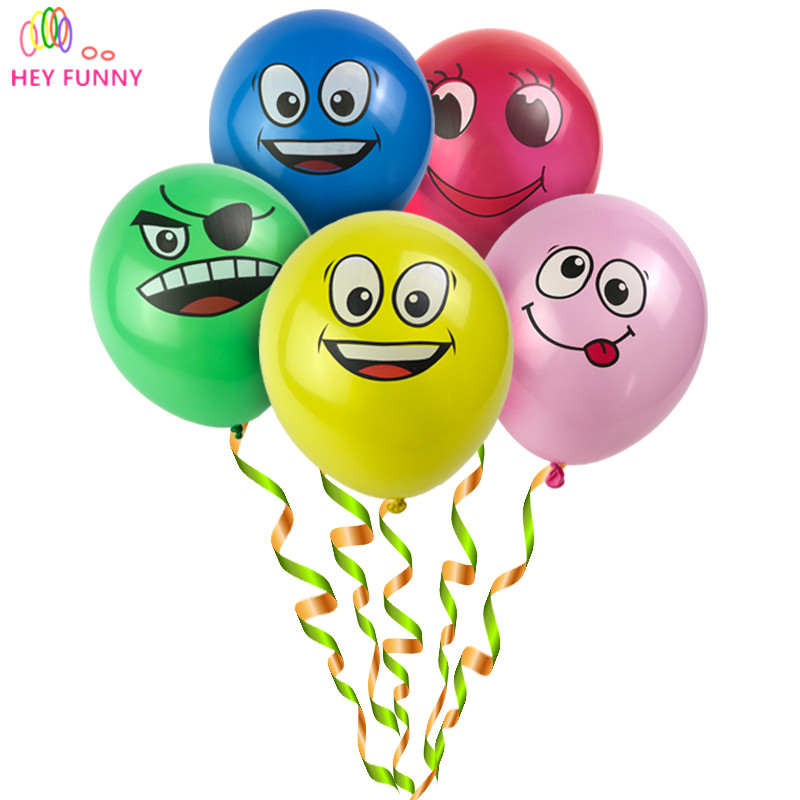 20pcs Lot Printed Big Eyes Smiley Air Balloon Happy Birthday Party Decoration Ballons Inflatable Latex Balls Kid Toys 476 In Accessories From Home