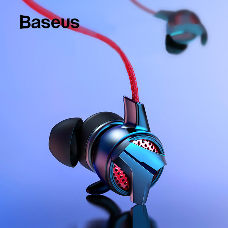 Baseus Wired Earphone In-ear Music Stereo Earbuds for iPhone Samsung Xiaomi with Microphone Gaming Earphone for Phone Computer image