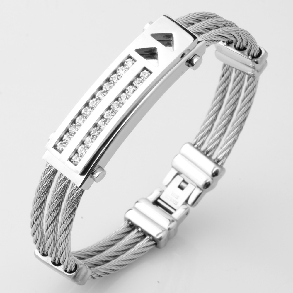 New Mens Stainless Steel Cable Wire Bangles Bracelets For Womens Silver Famous Brand Jewelry Ladies Cuff Cheap Wholesale
