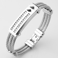 New Mens Stainless Steel Cable Wire Bangles Bracelets For Womens Silver Famous Brand Jewelry Ladies Cuff