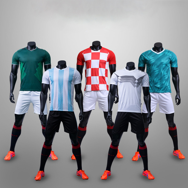 6414c036993 Football jerseys 2018 world Adults   children jerseys Blank Soccer Training Suit  Soccer Jersey   shorts Sportswear Customized