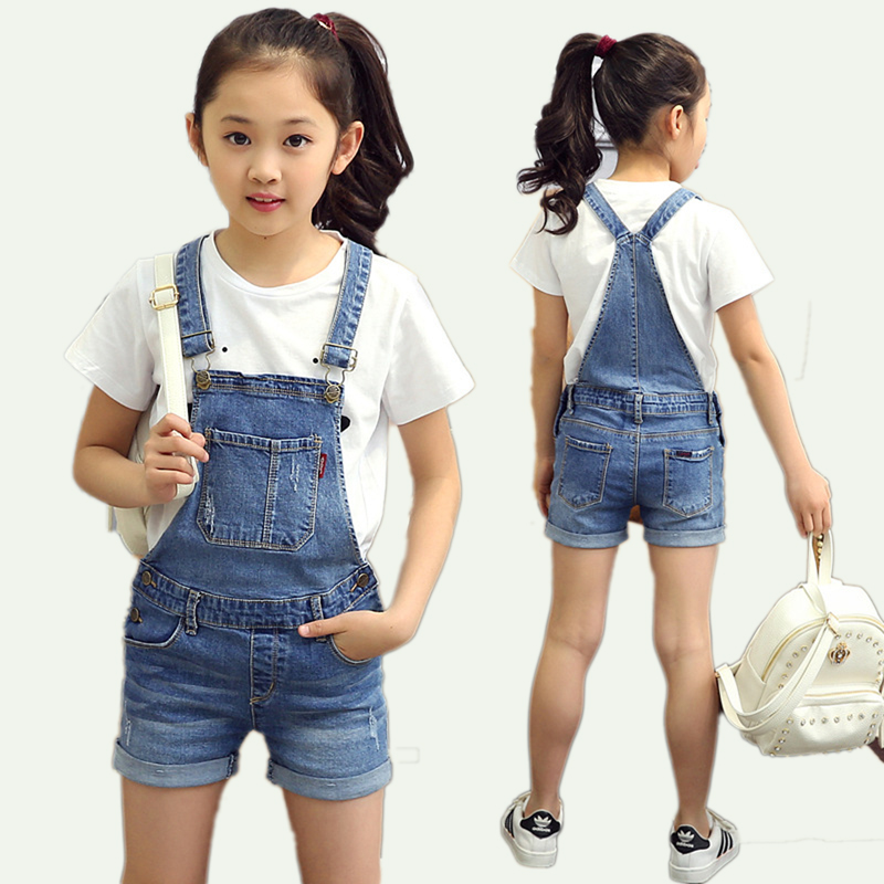 Fashion 2018 New Big Girls Jeans Overalls Summer Children Girls Strap Shorts Denim Jumpsuit Kids Girls denim jumpsuit T68 ...