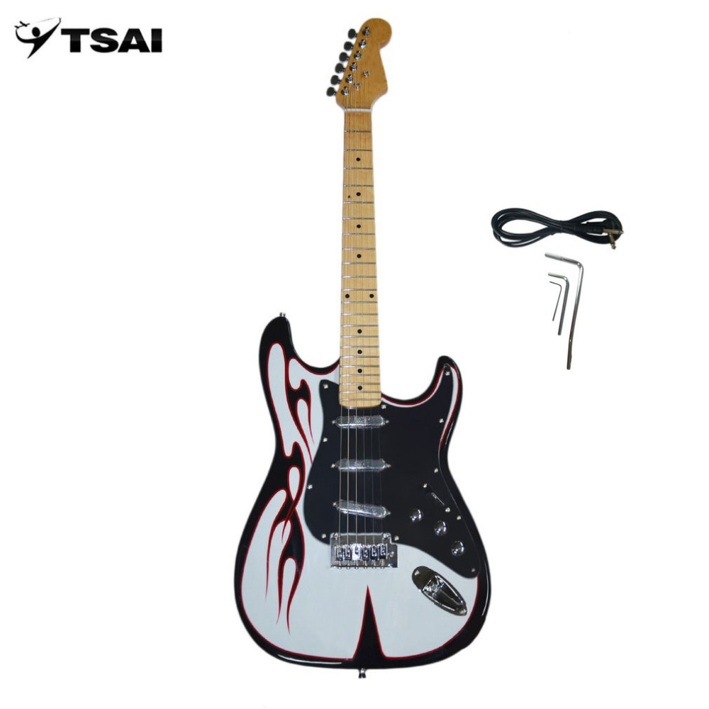 TSAI Electric Guitar Bass Wood Body Rosewood Fingerboard 22 Frets Electric Guitar Single Pickup Fire Pattern Veneer