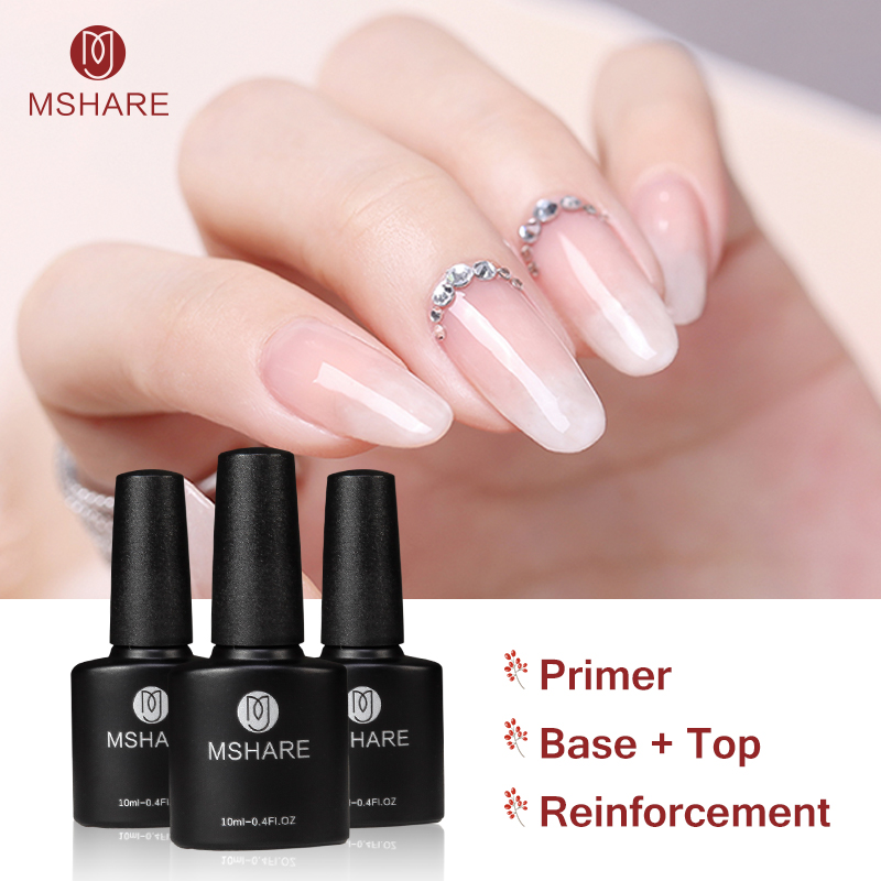 MSHARE 10ml Gel di rinforzo Base smalto per top coat Gel UV Matt Top Primer No Clean Wipe Sticky Layer Smalto per smalto per unghie M07