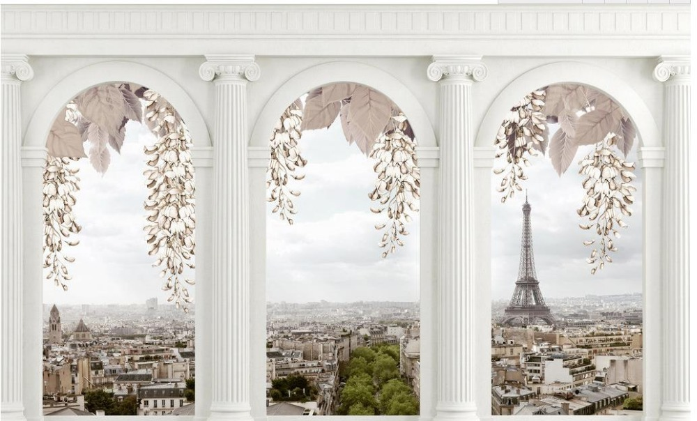 Home Decoration wallpaper for walls roll Roman columns Tower City custom 3d photo wallpaper 3d stereoscopic wallpaper in Wallpapers from Home Improvement