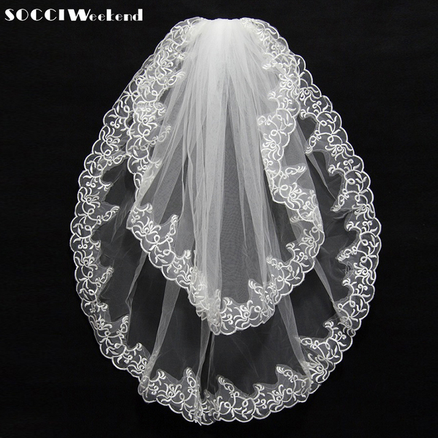 Wedding veils  New Arrival Hot Sale Two Layer Lace Edge Long Luxury Wedding Veil Bridal Veil Lace Veil