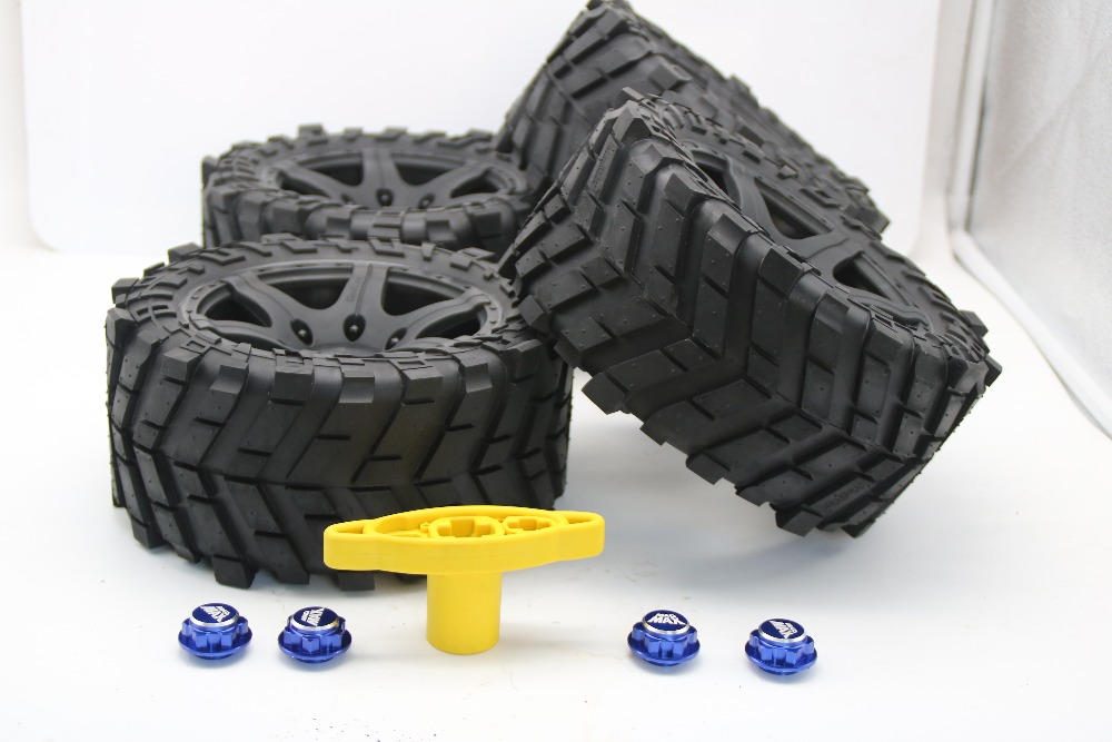 Wheels Waterproof and wear-resistant Widened Tire + wheel nuts Size 219MM*105MM FOR 1/5 TRAXXAS X-MAXX  RC CAR PARTS 4pcs tire to 1 5 traxxas x maxx wheels for traxxas x maxx rc monster truck model madmax high quality tyres upgrade rim