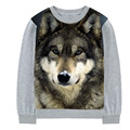 boy and girl The Wolf 2017 spring Nature Realistic  Print  Tees Cool boys girls t-shirt  Fashion Boys long Sleeve t-shirts