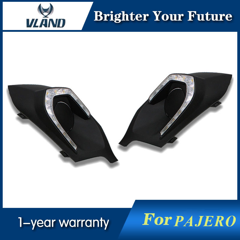 Daylight For Mitsubishi Pajero Sport 2013 2014 2015 Bright black housing White LED Daytime Running Light Turn Signal car rear trunk security shield shade cargo cover for mitsubishi pajero sport 2011 2012 2013 2014 2015 2016 2017 black beige