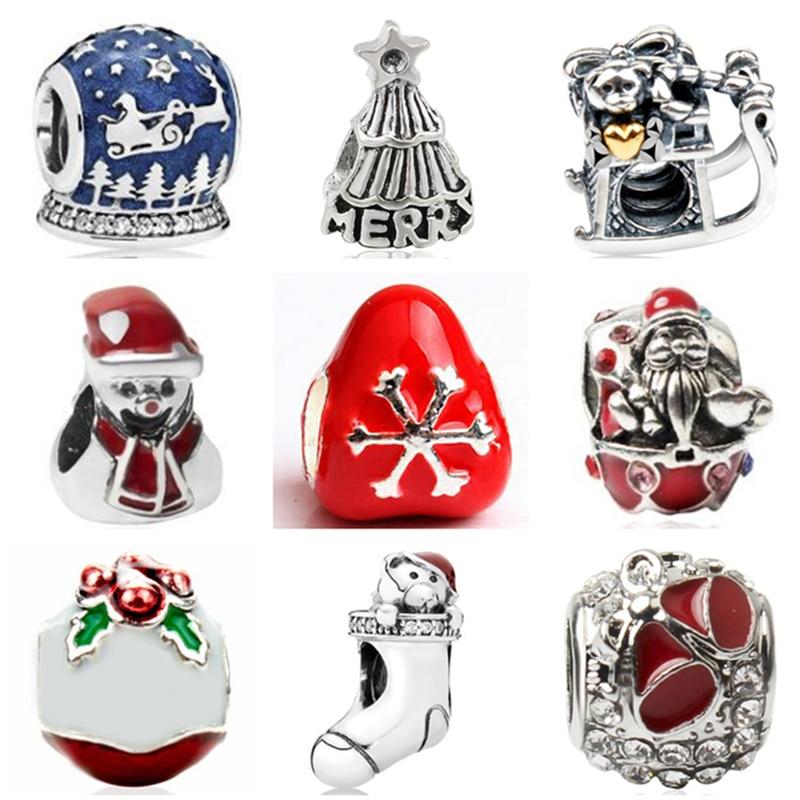 Humor Btuamb Maxi Crystal Santa Claus Reindeer Sled Enamel Alloy Beads Fit Pandora Charm Jewelry Diy Bracelets Christmas Gift Berloque