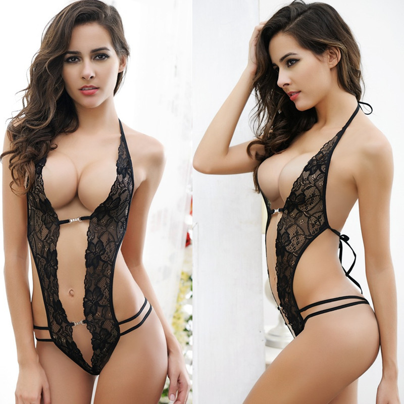 Sexy popular female women lady see through clothes lace mesh deep