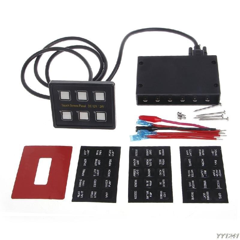 Tableau de bord marin de tableau de bord de bateau de voiture de panneau de commande de commutateur mince de 6 gangs 12 V/24 V écran tactile LED