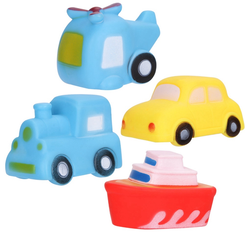 New 4pcs/sets Cute Transportation Bath Toy Kids Water Spray Colorful Car Boat Swimming Pool Baby Toys Soft Rubber Toys