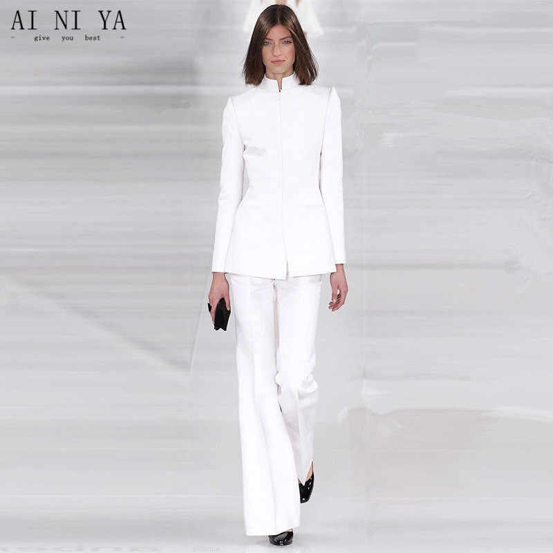 b0ffc87e9b5 Куртка + Брюки для девочек женские Бизнес костюм белый женские офисные  форма дамы формальных брюк 2