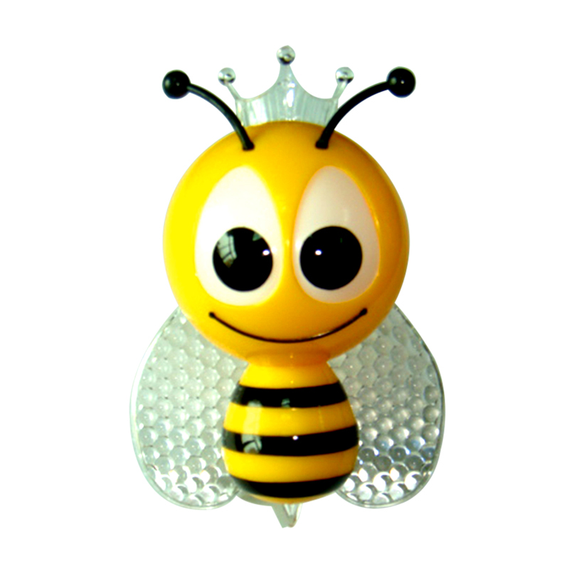 Light Sensor Cartoon Bee LED Night Light Cute Colorful EU Plug Bedside Lights For Baby Bedroom Children's Gifts Y30