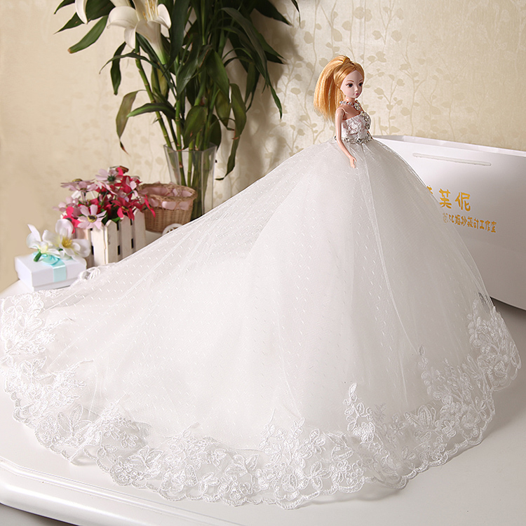 Wedding Gown Display: Doll + Wedding Dress / Luxury White Crystal Lace Bride