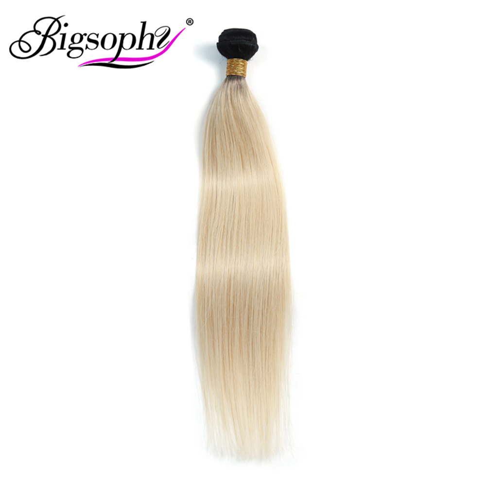 Bigsophy Hair Malaysian Weft Straight Human Hair Weave Bundles Blonde 1B 613 Color 100% Human Remy Hair Extension Free Shipping image