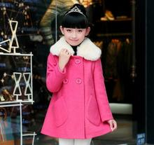 Fur Collar Children Wool Coat For Girls Sweet Large Pockets Girl Jacket Double Breasted Fashion Kids Winter Outwear Korea Style