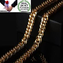 OMHXZJ Wholesale European Fashion Man Party Wedding Gift Wide Chain 24KT Yellow Gold Necklace NA211