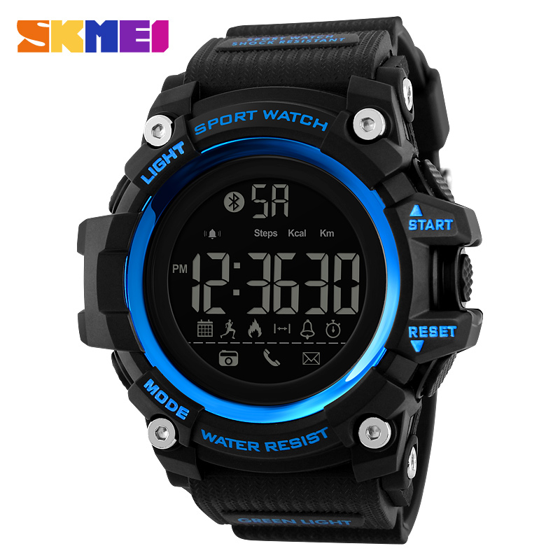 Luxury Smart Wristwatches Bluetooth Remote Camera For Apple IOS Android Smart Watch Waterproof Sports Digital Watch Men <font><b>SKMEI</b></font> image