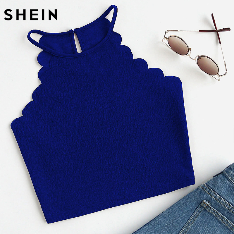 SHEIN Crop Tops Women 2017 Solid Blue Scallop Trim Halter Top Summer Women's Sleeveless Camisole Women Sexy Top