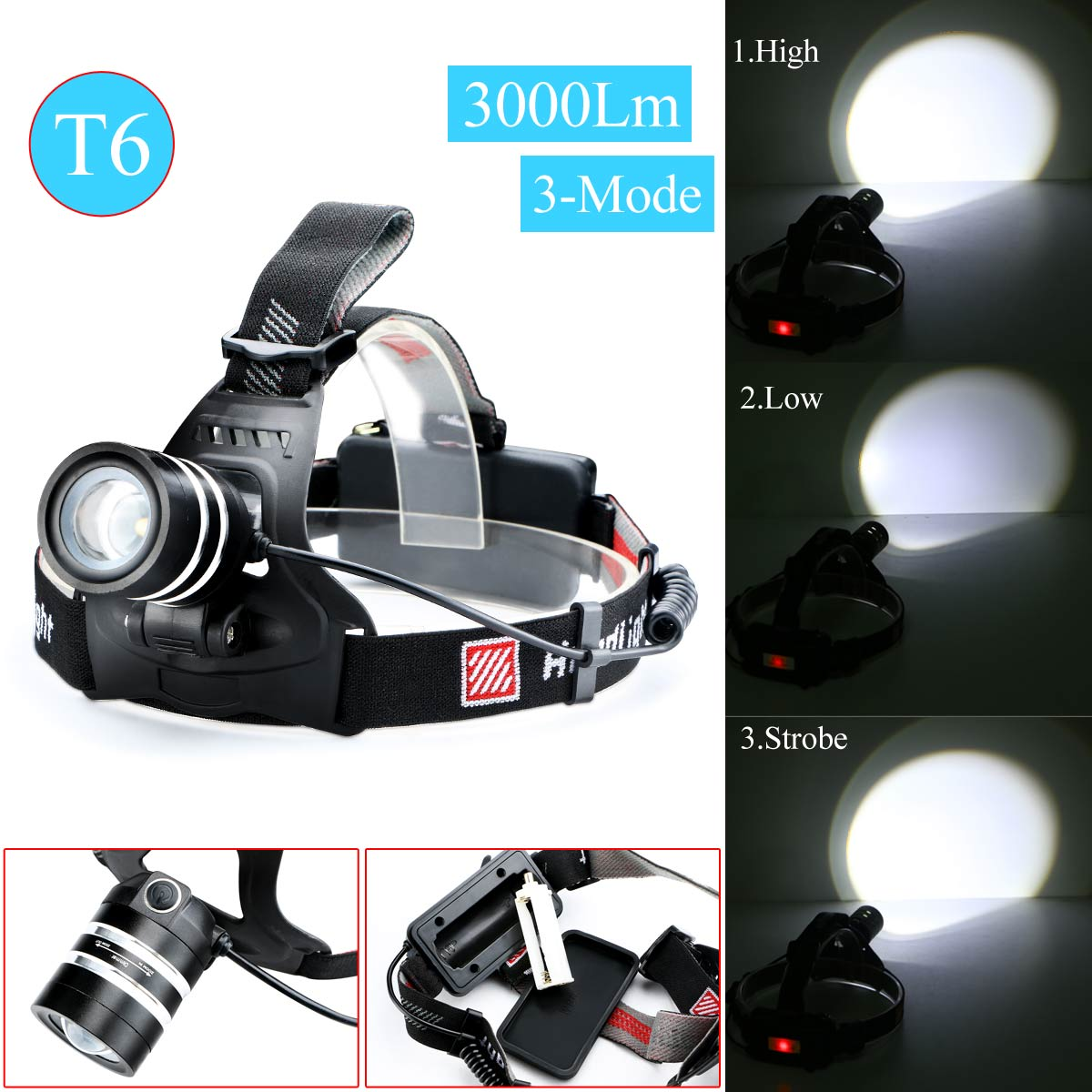 2016 Top Quality 3 Color 3000 Lumens T6 LED Headlamp Headlight Zoomable XM L T6 Head