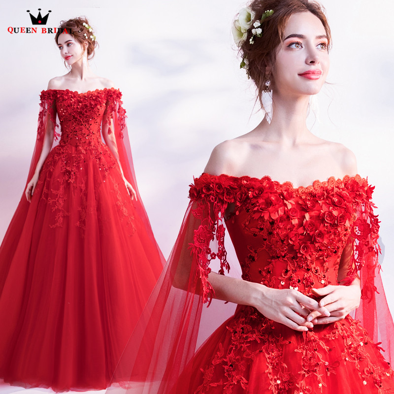 QUEEN BRIDAL Evening Dresses Ball Gown Cap Sleeve Tulle Lace Beading Luxury Red Formal Long Evening Gowns Vestido De Festa LS28
