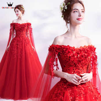 QUEEN BRIDAL Evening Dresses Ball Gown Cap Sleeve Tulle Lace Beading Luxury Red Formal Long Evening Gowns Vestido De Festa LS28 - DISCOUNT ITEM  0% OFF All Category