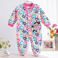 0-12M Spring Autumn Newborn Baby Girls Pink Rompers Zebra Long Sleeve Micro-Fleece Front Button Footed Coverall Color Jumpsuit