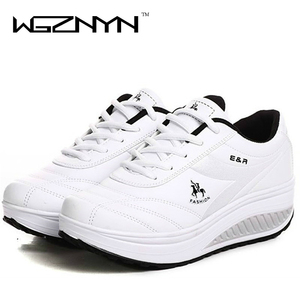 Image 3 - WGZNYN 2020 Slimming Shoes Women Fashion Leather Casual Shoes Women Lady Swing Shoes Spring Autumn Factory Top Quality Shoes