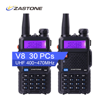 30pcs Factory Price Zastone V8 Walkie Talkies 1800mAh Li-ion Battery Two Way Radio 10km UHF VHF Dual Band Radio HF Transceiver