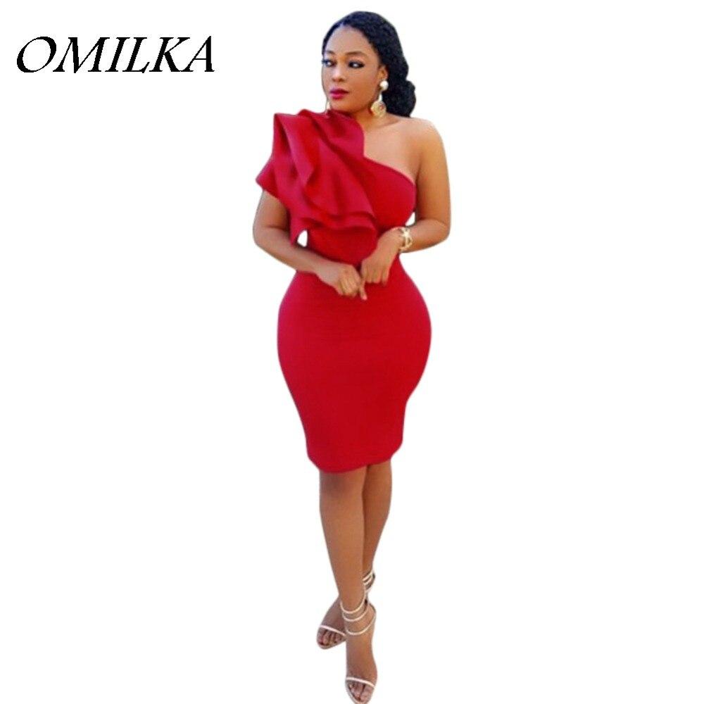 OMILKA 2017 Summer Women One Shoulder Ruffle Bodycon Midi Dress Elegant Black White Red Sleeveless Slim Club Party Dress S XXL