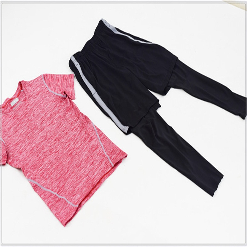 A18293 Men 2 piece set exercise shirt base layer running gym soccer sports clothing tights pants