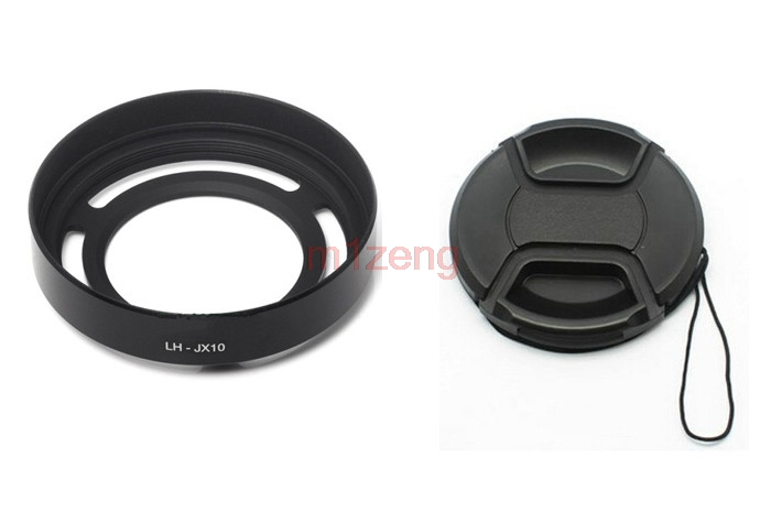 LH-X10 Metal Lens <font><b>Hood</b></font>+Filter Adapter Ring+<font><b>52mm</b></font> cap For Fujifilm fuji FinePix X10 x20 x30 camera black silver image