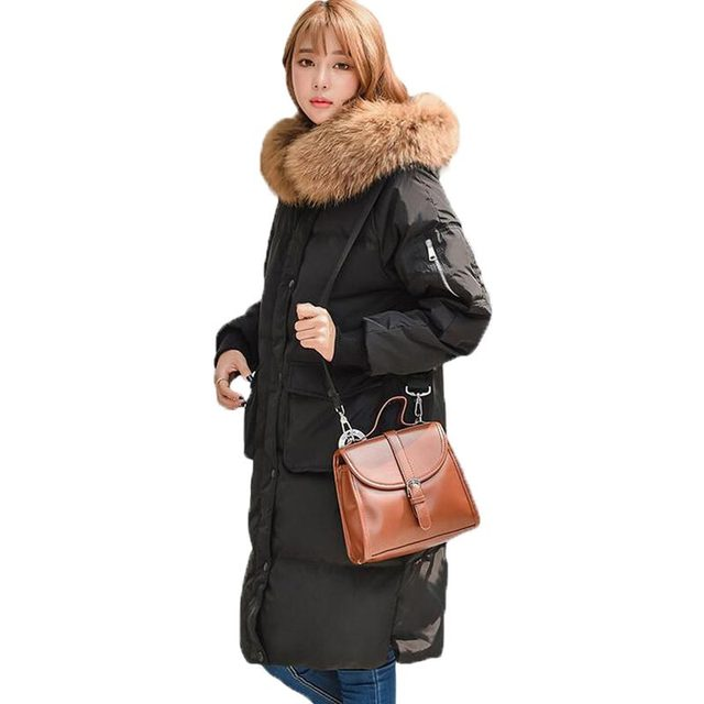 9cd45a3934d Natural Raccoon Large Fur Collar Hooded White Duck Down Coat Women Thick Long  Winter Jacket Women