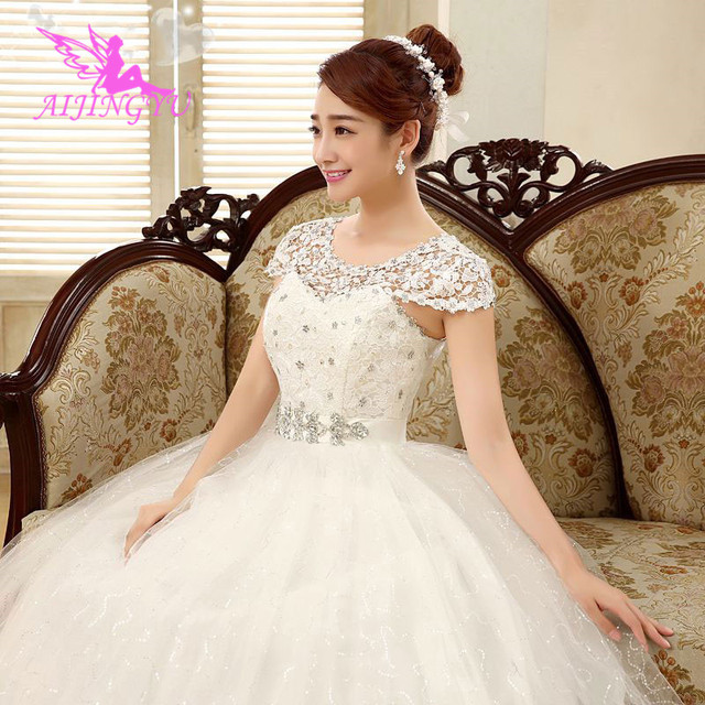 AIJINGYU 2021 תמונות אמיתיות חדש מכירה לוהטת זול כדור שמלת תחרה עד בחזרה פורמליות הכלה שמלות כלה שמלת WK321