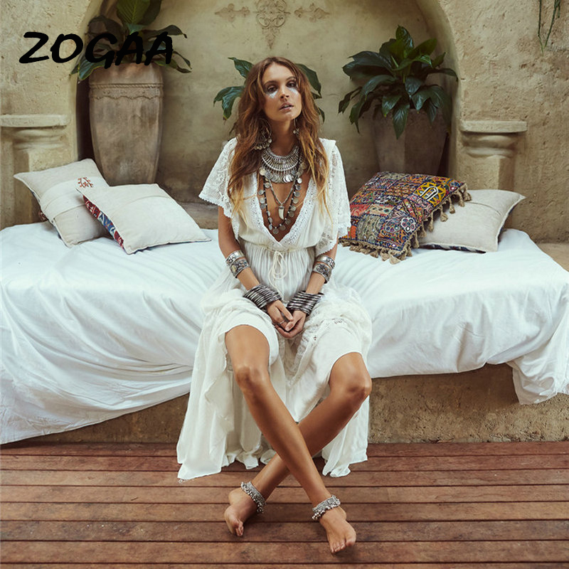 Saida de praia Feminino 2019 Vestidos Bonitos Vestidos Longos Para As Mulheres Beach Wear Bohemian Lady Vestido Branco Vestido de Renda Maxi frock