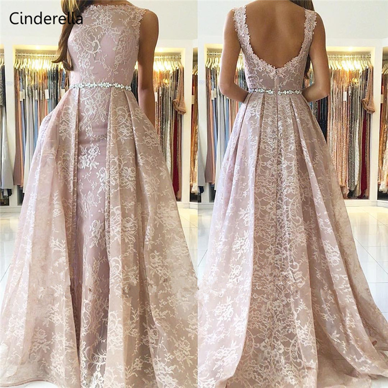 Cinderella Champagne Scoop Sleeveless Sweep Train Backless Lace Applique Crystal   Evening     Dresses   vestidos de fiesta de noche