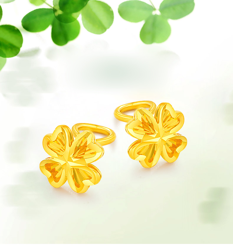 f1fc35b91def 24 K pendiente de oro puro Real AU 999 pendientes de oro sólido inteligente  hermoso trébol de cuatro hojas joyería de moda de lujo Venta caliente Nuevo  2018