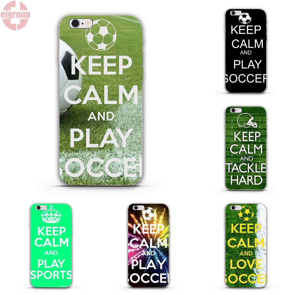 EJGROUP Keep Calm And Play Soccer Bags For iPhone 4 4S 5 5C SE 6 6S 7 8 Plus X Soft TPU Silicon Case Coque Cover