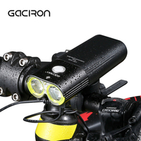2017 New GACIRON Waterproof Bicycle Headlight USB Rechargeable MTB Mountain Road Bike Flashlight Cycling Power Bank