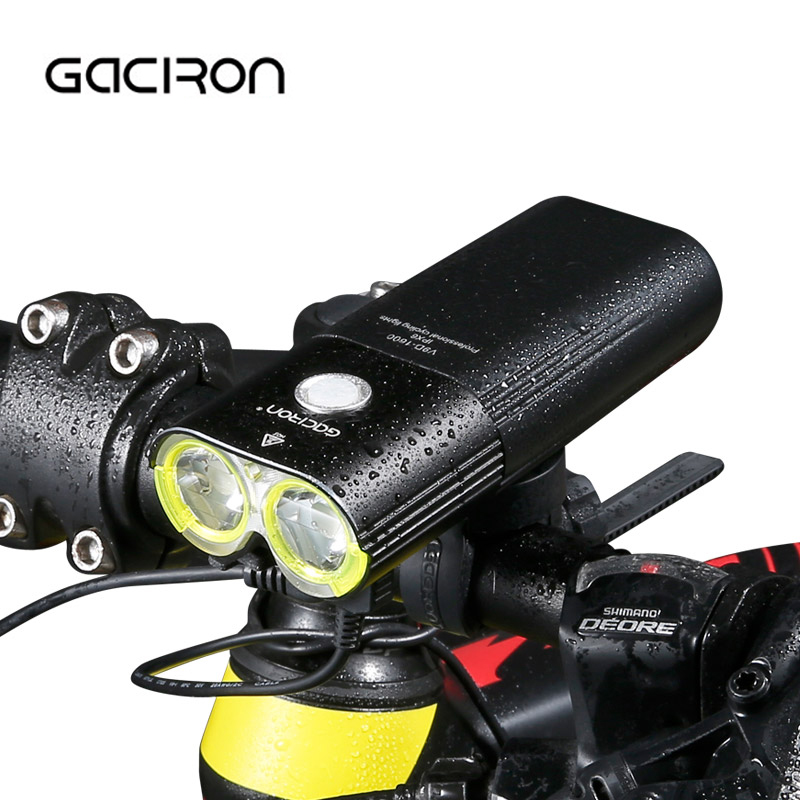 GACIRON 1600 Lumens Bicycle Headlight USB Rechargeable Mountain Road Bike MTB Flashlight Waterproof Cycling Farol De Bicicleta roswheel mtb bike bag 10l full waterproof bicycle saddle bag mountain bike rear seat bag cycling tail bag bicycle accessories