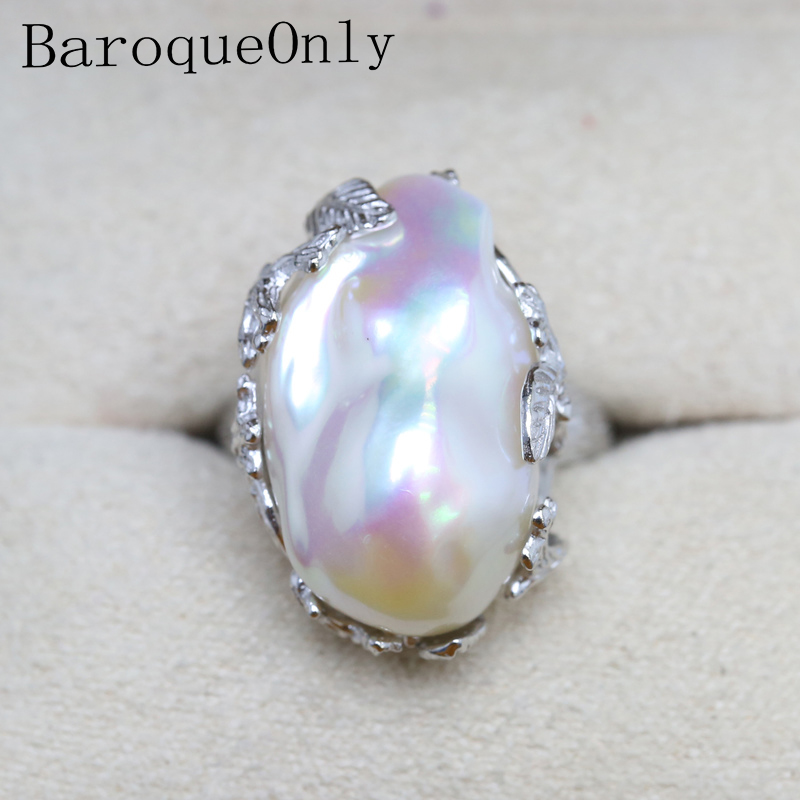 Baroque Original Handmade 925 Sterling Silver Baroque Pearl Ring Genuine Natural Freshwater Pearl Vintage RV baroque
