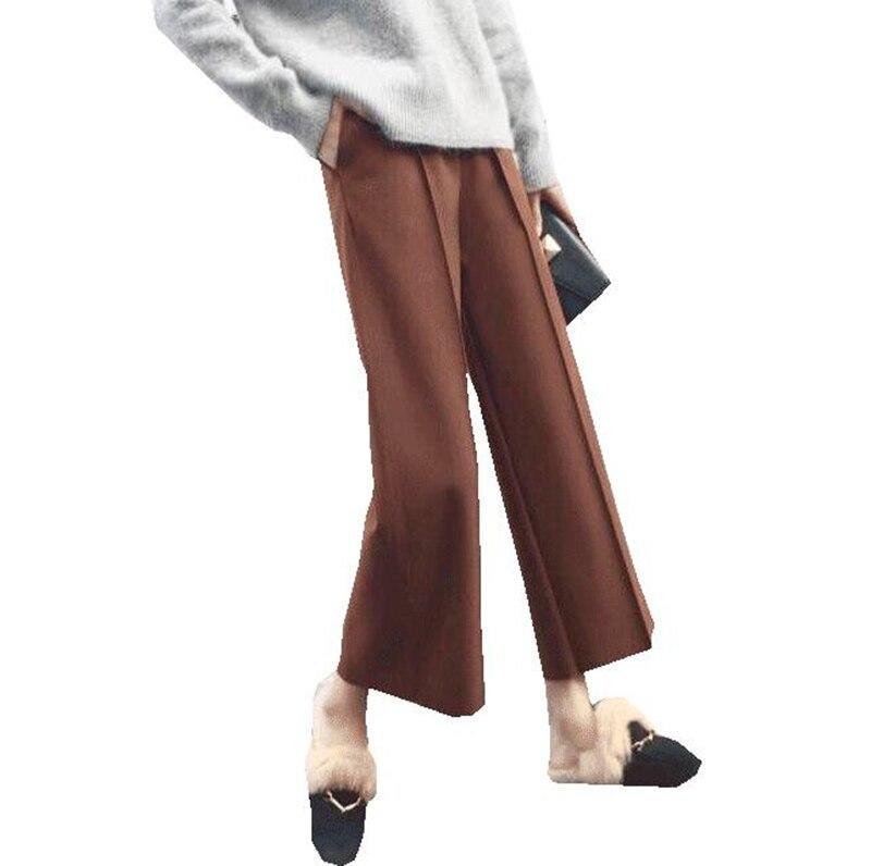 Women   Pants   New 2018 High Waist Loose   Wide     Leg     Pants   Women Autumn Winter fashion slim Trousers Casual Ankle-Length   Pants   RE0816
