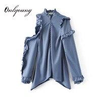 Onlyoung 2017 وصول جديدة قبالة الكتف الكشكشة بلوزة كم طويل الأزرق فضفاض أنثى بلوزة قميص قمم