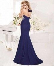 Blue 2016 New Arrival Elegant Evening Dress Beading Robe De Soiree Vestido Festa Formal Party Gowns