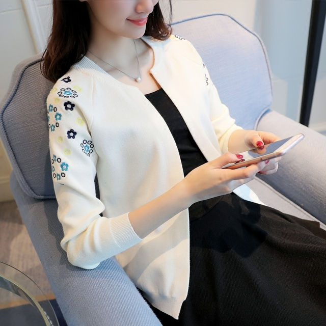 860d74117b OHCLOTHING Knit a female cardigan The new 2018 autumn fashion short woman  with a small shawl embroidered cardigan sweater coat
