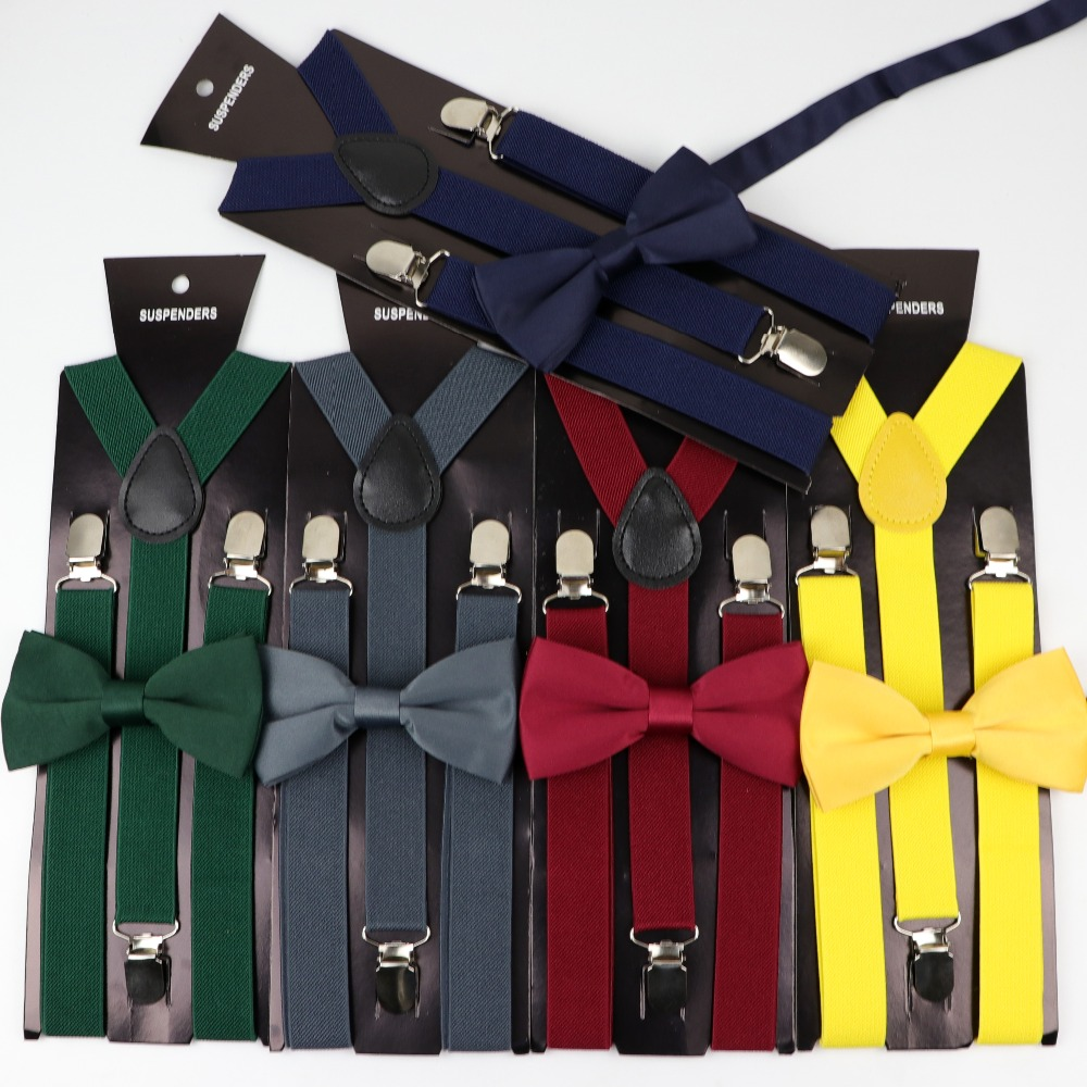 Solid Color Man's Belt Polyester Bowtie Set Men Women Suspenders Polyester Y-Back Braces Two Colors Bow Tie Adjustable Elastic